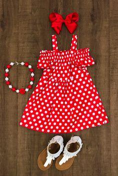 Red Polka Dot Off-Shoulder Dress