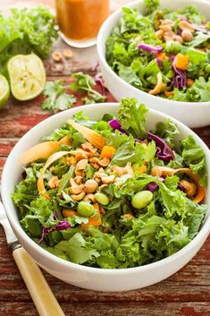 Gloriously Healthy Green Salad with Sriracha Peanut Dressing   theliveinkitchen.com @liveinkitchen