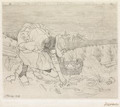 JAN TOOROP  Sprokkelend Kind.   Drypoint on Japan paper, 1899. 158x189 mm; 6 1/4x7 1/2 inches, full margins. Signed in ink, lower right. A very good impression of this scarce print. Rijksmuseum 47.