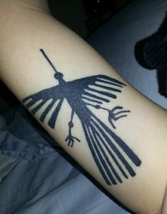 """This is my free bird, the condor (search """"Nazca Lines, Peru""""), done on my right bicep. As an archaeology student, this represents my passion for things unknown, the mystery and beauty of human intention, and strength against the natural forces that exist only to break you. Done by Betty B. at Adrenaline VancityVancouver, British Columbia."""