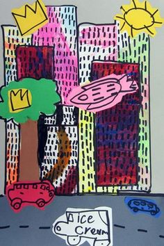 Basquiat cityscape art lesson project elementary drawing collage