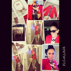 Pale Rose pants and Red blazer! Look of the day.  Photo by InTouch Chic   www.InTouchChic.com