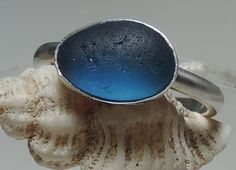 Handmade Sterling silver and sea glass ring - Electric blue on Etsy, $26.00