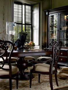 Stanley Furniture City Club Private Room Pedestal Table Set in Blair by Dining Rooms Outlet Dark Wood Dining Table, Furniture Dining Table, Pedestal Dining Table, City Furniture, Modern Dining Table, Rooms Furniture, Round Dining, Dining Room Sets, Dining Room Table