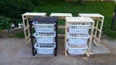 Laundry basket holders from reclaimed pallet wood. always a popular build.