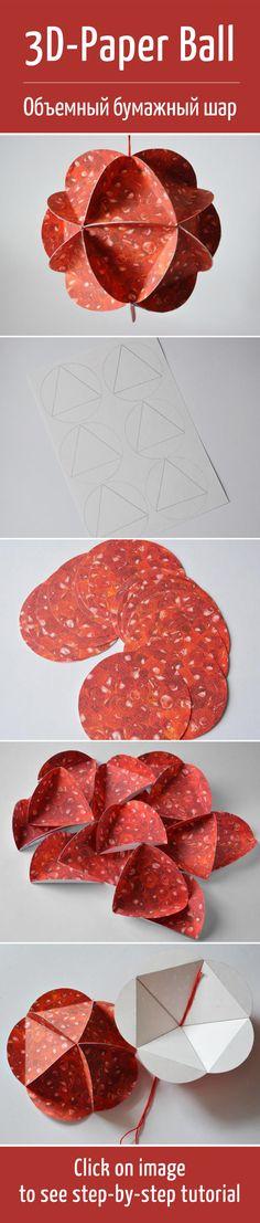 Делаем объемный бумажный шар / 3D paper ball diy