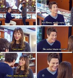 """Chris: """"Ann Perkins, will you marry me?"""" Ann: """"I don't know!"""" Chris: """"Me neither! Maybe let's not?"""" Ann: """"Yeah. I think maybe not."""""""