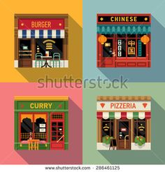 Cool set of vector detailed flat design restaurants facade icons. Burger, Chinese food, Indian curry and Italian pizzeria fronts. Ideal for restaurant business web publications and graphic design Café Restaurant, Chinese Restaurant, Restaurant Design, Flat Design, Design Plat, Restaurants, Meat Shop, Pizzeria, Indian Curry