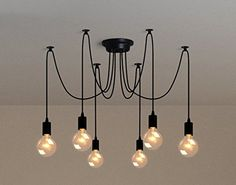 6Pcs E27 Douille Retro Suspensions Luminaires Vintage Pla…