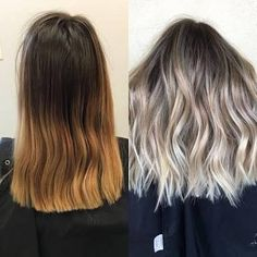 Image result for ash blonde balayage brown eyes. before after