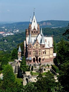 Schloss Drachenburg, Germany (Dragon's Castle) I am thinking that when this was built the view was void of the housing now developed around this castle. TOP 10 Fairy-Tale Castles in Europe Vila Medieval, Chateau Medieval, Medieval Castle, Beautiful Castles, Beautiful Places, The Places Youll Go, Places To See, Chateau Moyen Age, Bonn Germany