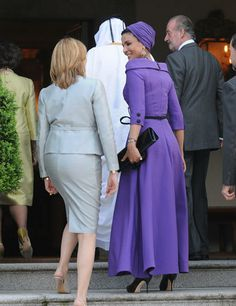Sheikha Mozah of Qatar with the Infanta Cristina going inside the Zarzuela palace to have lunch, before start the State Visit to Spain by the sovereigns of Qatar