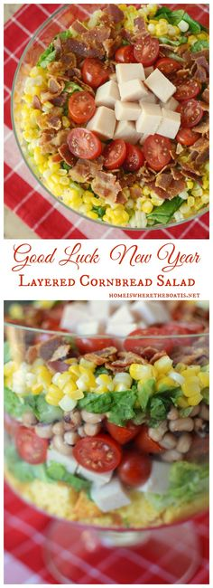Good Luck New Year Cornbread Salad, a crowd-pleasing salad with layers for Good Luck in the New Year!