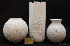 3x tolle Kaiser Design Porzellan Vase weis Relief 0216 197 1332/3 M. Frey