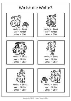 Wo ist ...?, Katzen, Raumorientierung, räumliche Wahrnehmung, AFS-Methode, Legasthenie, Dyskalkulie, rechts, links, Richtung, Richtungsangaben, Arbeitsblatt, kostenlos, Kinder, Eltern, Grundschule, Förderschule, Vorschule, Koujou, Stephany Koujou, DAF, DAZ, zweisprachig
