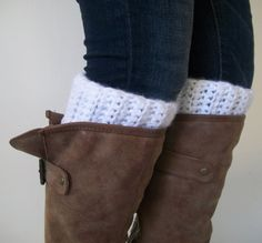 White Ribbed Crochet Boot Cuffs Boot Toppers Chunky by RuehLoo, $20.00