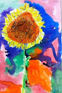 Art: Expression of Imagination: kindergarten art lesson based on sunflowers-Van Gogh Kindergarten Drawing, Kindergarten Art Lessons, Kindergarten Activities, Art Activities For Kids, Preschool Art, Painting For Kids, Art For Kids, Fall Art Projects, 2nd Grade Art