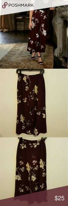 NWT Lauren Conrad Runway wide leg pants Beautiful pants. Maroon with flower print. High waisted. Side zipper. 100% polyester. LC Lauren Conrad Pants Wide Leg