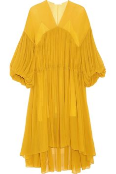 Shop on-sale Gathered silk-georgette midi dress. Browse other discount designer Midi Dress & more luxury fashion pieces at THE OUTNET Mustard Yellow Dresses, Yellow Midi Dress, Midi Dress With Sleeves, Bell Sleeve Dress, Chloe Dress, Calf Length Dress, Midi Cocktail Dress, Vestido Casual, Tiered Dress