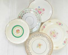English Cottage Style Mismatched Plates Set by RosebudsOriginals