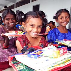 PHOTO OF THE DAY: India: girls new to the orphanage home, happy to receive their first set of school supplies and hygiene items. || Take action: shop Amazon through our link, 7% of purchase goes to our programs: http://amazon.peacegospel.org || Raise Awareness: please like & repin!