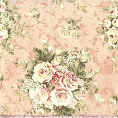 45 Wide Mary Rose Floral Blush Pink Fabric By The Yard