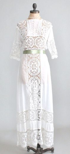 Antique 1910s Crocheted Lace and Cotton Lawn Dress - http://raleighvintage.com/