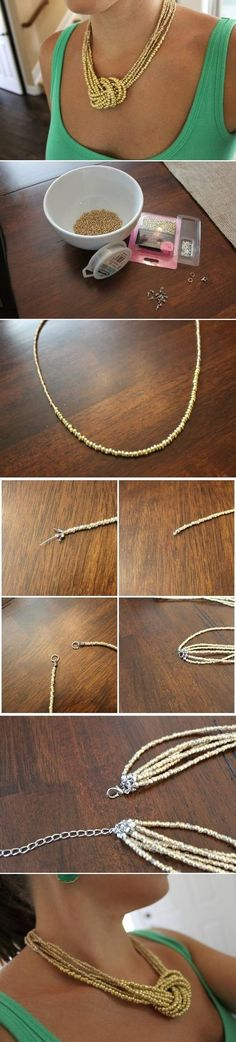 Diy Jewelry : DIY Simple Bead Necklace diy crafts craft ideas easy crafts diy ideas crafty easy diy craft necklace diy necklace jewelry diy -Read More – Diy Crafts Necklaces, Jewelry Crafts, Seed Bead Necklace, Diy Necklace, Simple Necklace, Seed Beads, Necklace Tutorial, Necklace Holder, Necklace Ideas