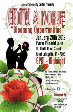 Hanna Community Center | Ebony & Ivory Ball 2012 Poster