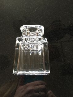 Clear glass Art Deco style candleholder. Purchased at estate sale in SLC.