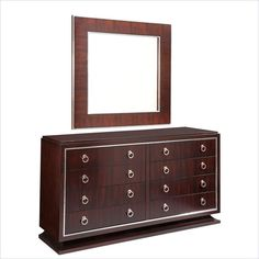 Broyhill Pinstripe 8 Drawer Double Dresser and Mirror Set in Dark Mahogany - The Pinstripe Double Dresser is designed by GlucksteinHome with deco-inspired chrome hardware and accent, plinth base, and cathedral mahogany veneers in a dark mahogany finish with a high sheen.