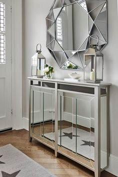 Mirrored | mirror | glass | chrome | metal | luxe | gloss | bevelled mirror | console table | hall storage | radiator solution