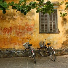 2 bicycle, wall, window ...    		Hoi An, Vietnam