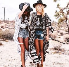 Boho style clothes. Kimonos,  printed crop tops, jean shorts, beads, and felt hats