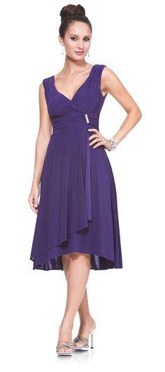 Short Royal Blue Dinner Cruise Evening Dress Tea Knee Length ITY Knit $84.99