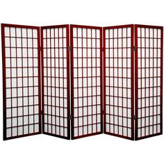 "48"" x 71"" Window Pane Shoji 5 Panel Room Divider"