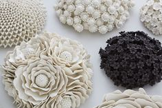Organic and ornate, spontaneous and stylised, Vanessa Hogge crafts her beautiful decorative wallflowers and vessels in her studio at Cockpit Arts Holborn, breathing new life into her clay in the form of. Sculptures Céramiques, Sculpture Clay, Pottery Sculpture, Sculpture Ideas, Ceramic Flowers, Clay Flowers, Ceramic Clay, Porcelain Ceramics, Clay Tiles