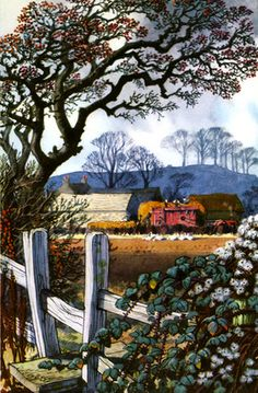 Hawthorn and stile by C. F. Tunnicliffe