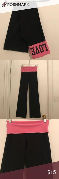 Victoria's Secret Pink Black Spandex Pants Never worn perfect condition Black spandex pants  with pink folder waist PINK Victoria's Secret Pants Track Pants & Joggers