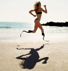 """Chapter, """"ATHLETES""""   http://schatzimages25years-glitterati.com/ The one-and-only, Aimee Mullins, sprinting on Coney Island's beach in the middle of winter.  Things get in your way,  especially if you let them.  When you don't,  you might be able to accomplish this!"""