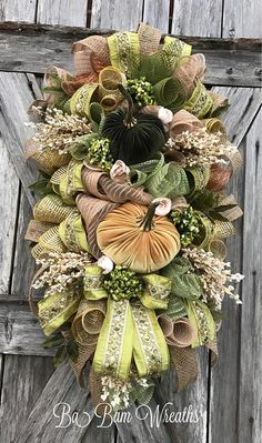 BaBamWreaths on Etsy Thanksgiving Wreaths, Autumn Wreaths, Wreath Fall, Shabby Chic Fall, Shabby Chic Wreath, Autumn Decorating, Fall Decor, Fall Swags, Harvest Decorations