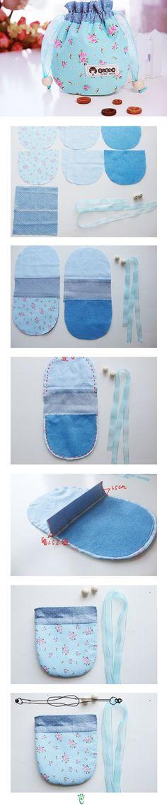 42 Ideas For Sewing Pouch Drawstring Bag Patterns Sewing Hacks, Sewing Tutorials, Sewing Patterns, Bag Patterns, Fabric Crafts, Sewing Crafts, Sewing Projects, Pochette Diy, Diy Sac