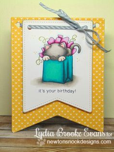 Love Lydia Brooke - Cute Cat birthday card using Newton's Birthday Bash Stamp wet by Newton's Nook Designs!