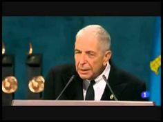 Discurso de Leonard Cohen (subtitulado al español) - Premio Príncipe de Asturias - YouTube