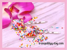 Candy Sprinkle Bobby Pins , Rainbow Square Candy Bar  Bobby Pin 2 Hair Clips Handmade By: Tranquilityy