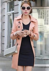 Skin Pink Plain Epaulet Double Breasted Trench Coat