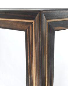 Macassar coffee table - corner joint, profiled inlaid leg.