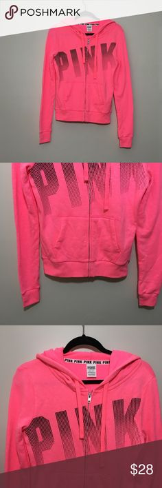 Victoria's Secret PINK Zip-Up Sweatshirt Zip-up sweatshirt by Victoria's Secret PINK. Actual color can appear lighter or darker depending on the lighting. No signs of wear. Great condition. No rips or stains.  Measurements (approximate, taken laying flat): Underarm to underarm: 18 inches Length: 23 inches  Material: 60% cotton 40% polyester  ❌No trades❌ PINK Victoria's Secret Tops Sweatshirts & Hoodies