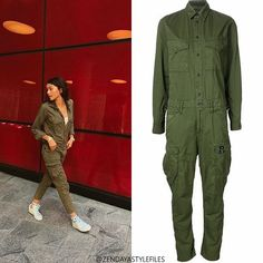 "94 Likes, 9 Comments - Zendaya Style Resource (@zendayastylefiles) on Instagram: ""@zendaya wearing @gstarraw Women's Cargo Jumpsuit (SOLD OUT). For more info on similar styles visit…"""