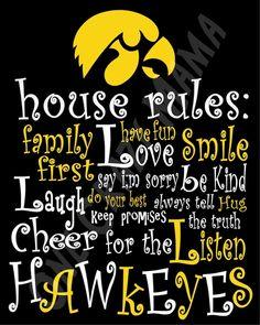 Iowa Hawkeye House Rules - 8x10 Printable Digital Copy